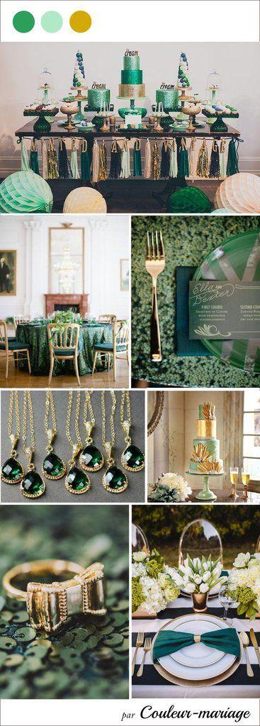 Mariage couleur vert émeraude, menthe et or