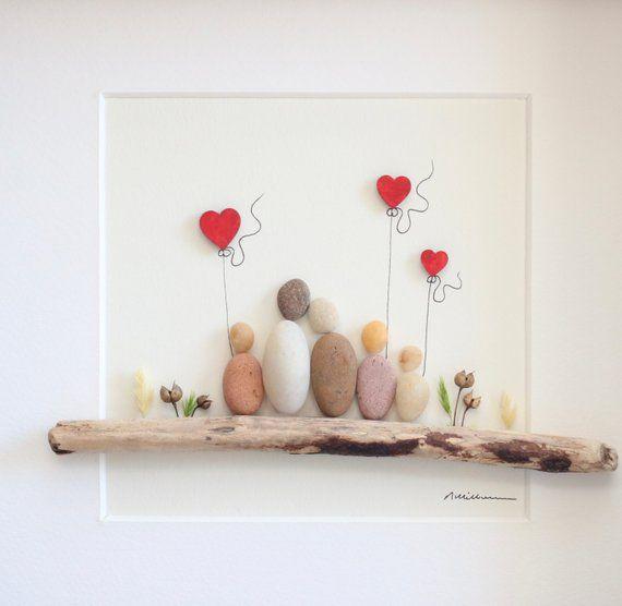 Photo of Bild-Familie von 5, Herz aus Holz, Muttertag, Vatertagsgeschenk Kiesel, Kiesel Kunst Mama, Kiesel Kunst Familie, Kiesel Kunst, Kunstwerk