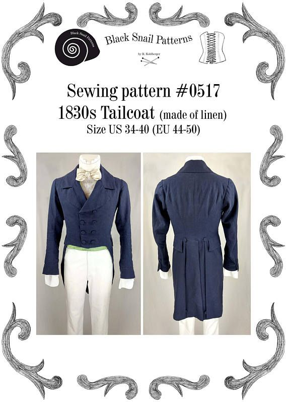 1830 Tailcoat (linen) sewing pattern #0517 Size US 34-48 (EU 44-58 ...