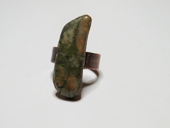 Unakite Ring by PaleHorseJewelry on Etsy, $50.00