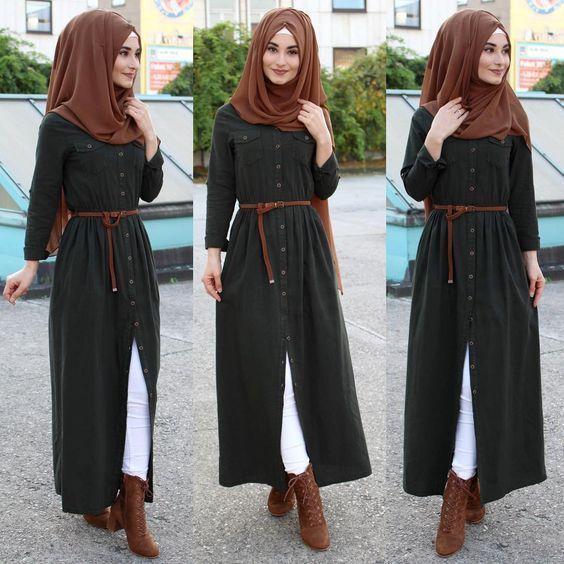 Elegant Button down Belt Dress with Hijab Fashion for Muslim  Girls Hijab Sty  T...