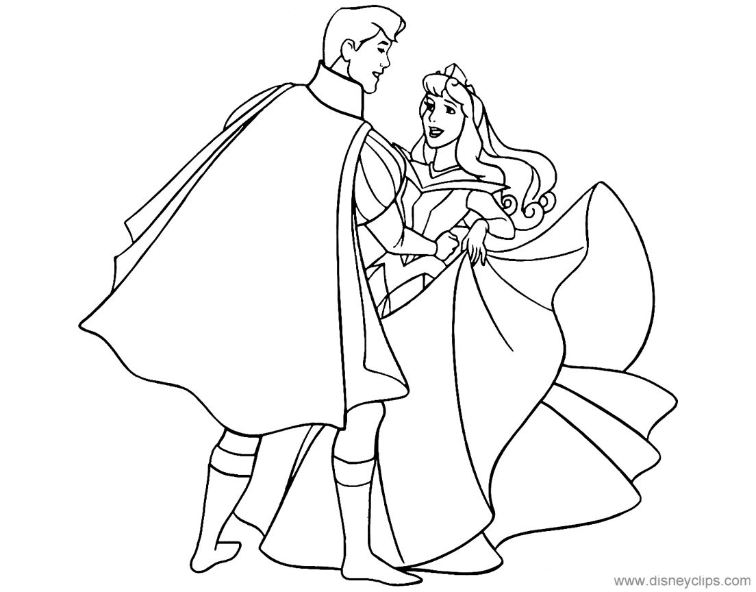Aurora And Prince Phillip Dancing Sleepingbeauty Sleeping Beauty Coloring Pages Disney Coloring Pages Disney Sketches