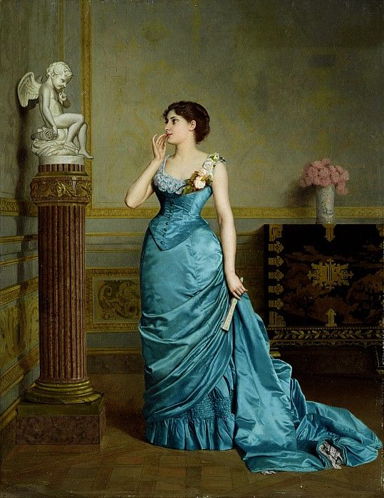 The Accomplice by Auguste Maurice Cabuzel. Dress fashion is early to mid-1880s