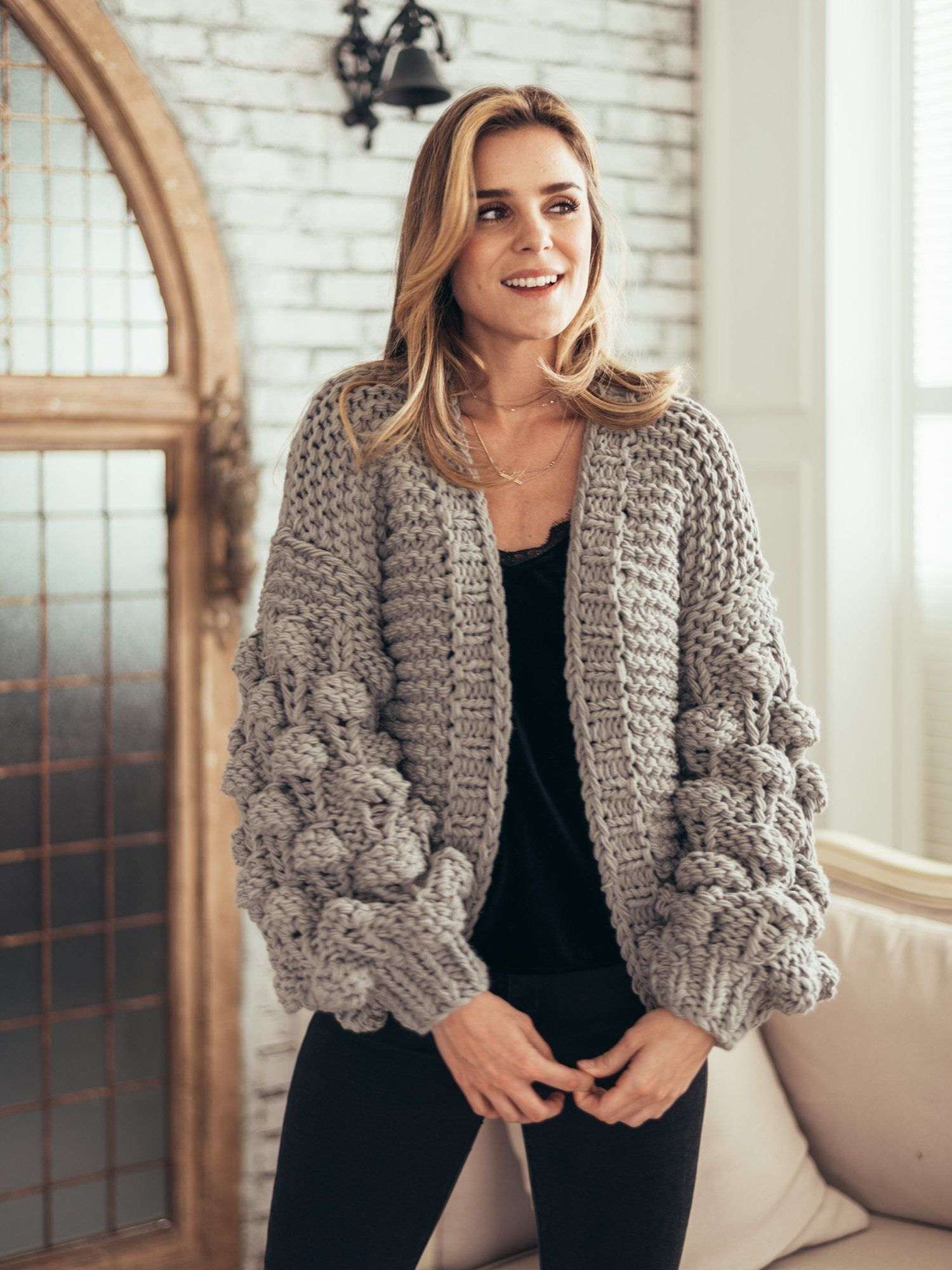 'Abbey' Hand-knitted Pom Pom Sleeve Chunky Cardigan (3 Colors)