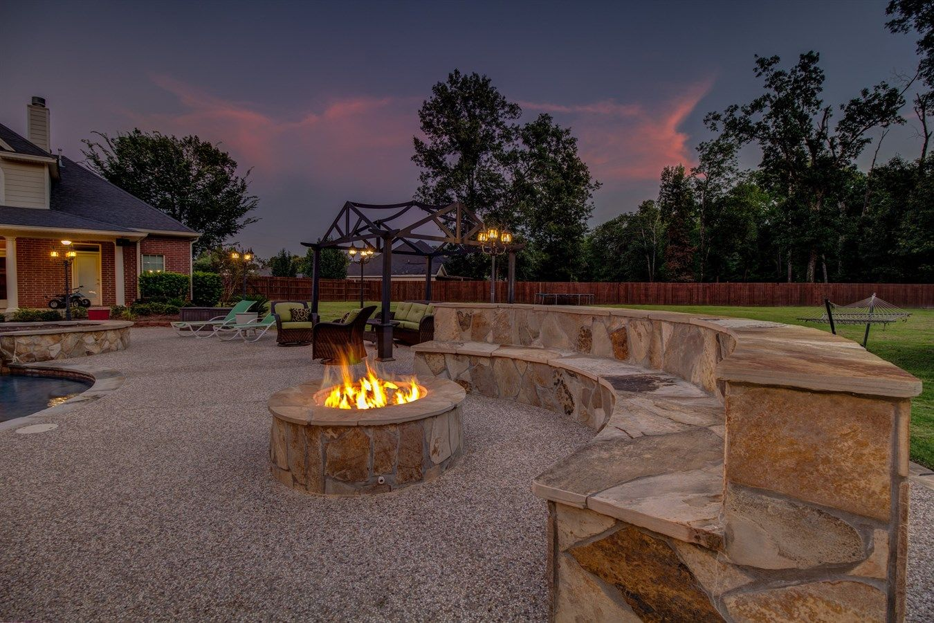 Beautifully designed fire pit and sitting area. | Home ... on Living Room Fire Pit id=29756