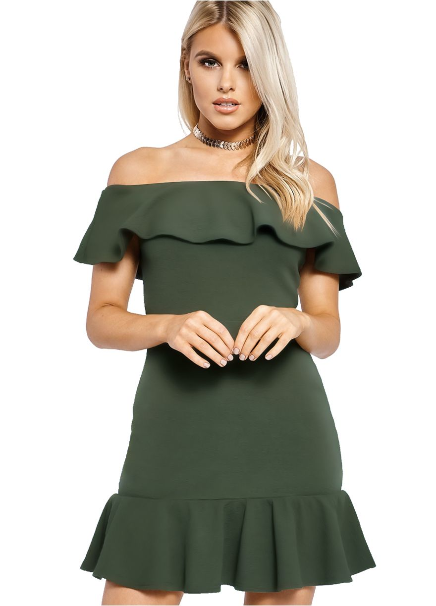 Ruffle off the shoulder mini dressmini dressdressessexy lingeire