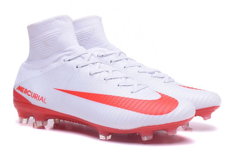 New 2017 Nike Mercurial Superfly V FG Soccer Cleats. White/Red