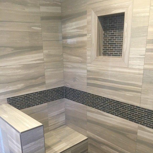 Glass Tile Borders Bathroom: #mulpix Master Bathroom Shower With 12x24 Porcelain Tile
