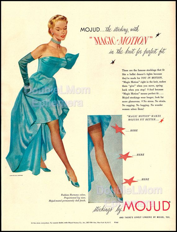 0c7a6e8b691 1951 Stockings by Mojud Ad    Retro Hosiery Ads from the 50 s    Retro  Advertising Illustration    Beautiful Lady in Gown by Ceil Chapman
