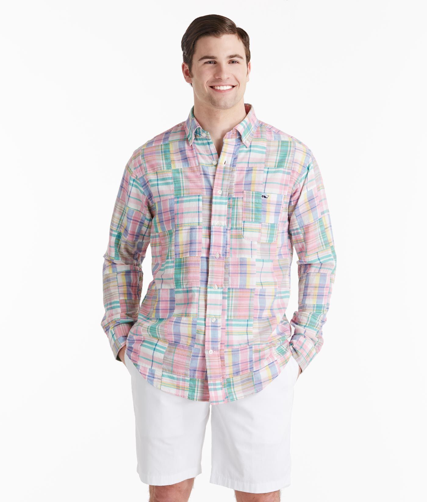 Buy Men's Madras Patchwork Tucker Button Down Shirt | Vineyard ...