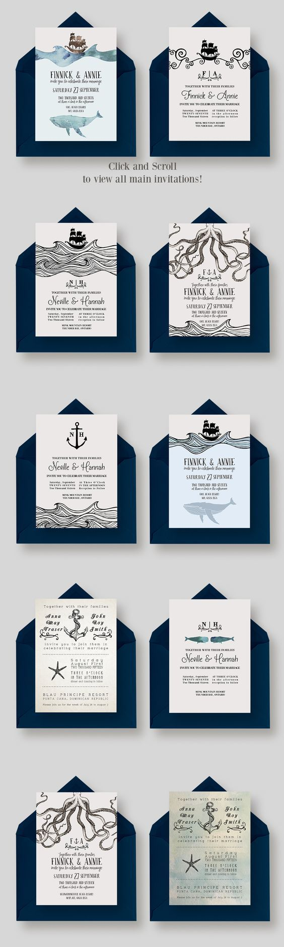 Looking for nautical inspired wedding invites? This GIANT Nautical ...