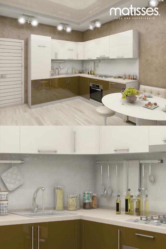 Cocina moderna con paleta de color beige y acentos marrones | Cocina ...