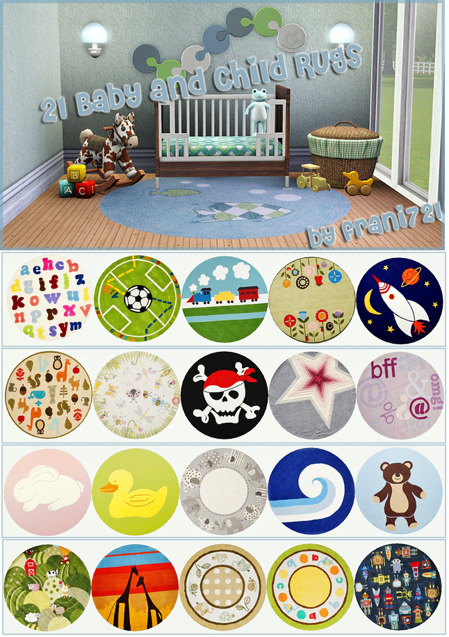 SIMS 3 - Baby & Children Rugs by Frani Jo download at: http://www.blackpearlsims.com/downloads.php?do=file&id=6690  #sims3 #sims3decor #BPS #blackpearlsims