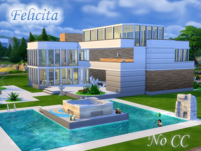 This Is A Modern Three Storey House With A Swimming Pool Found In Tsr Category Sims 4 Residential Lots Casas The Sims 4 The Sims Moveis De Piscina