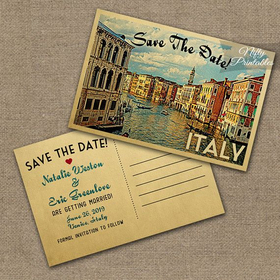 This Diy Vintage Travel Save The Date Postcard Features Venice