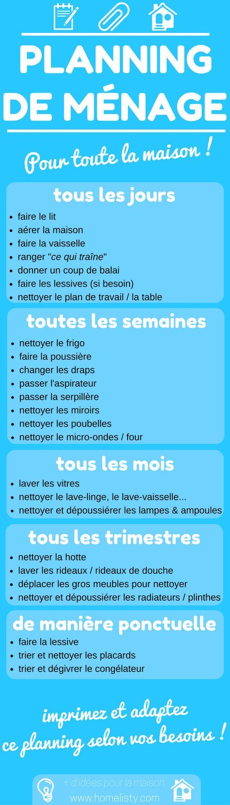 TÉLÉCHARGEMENT GRATUIT  Planning De Ménage Pour La Maison ! Home