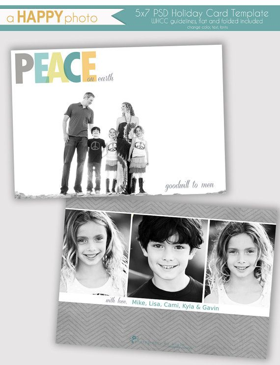 Peace, Holiday Photo Card Template, Photographers, PSD, WHCC, 5x7 flat and folded, christmas photo card