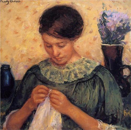 Woman Sewing - Mary Cassatt, 1913-4