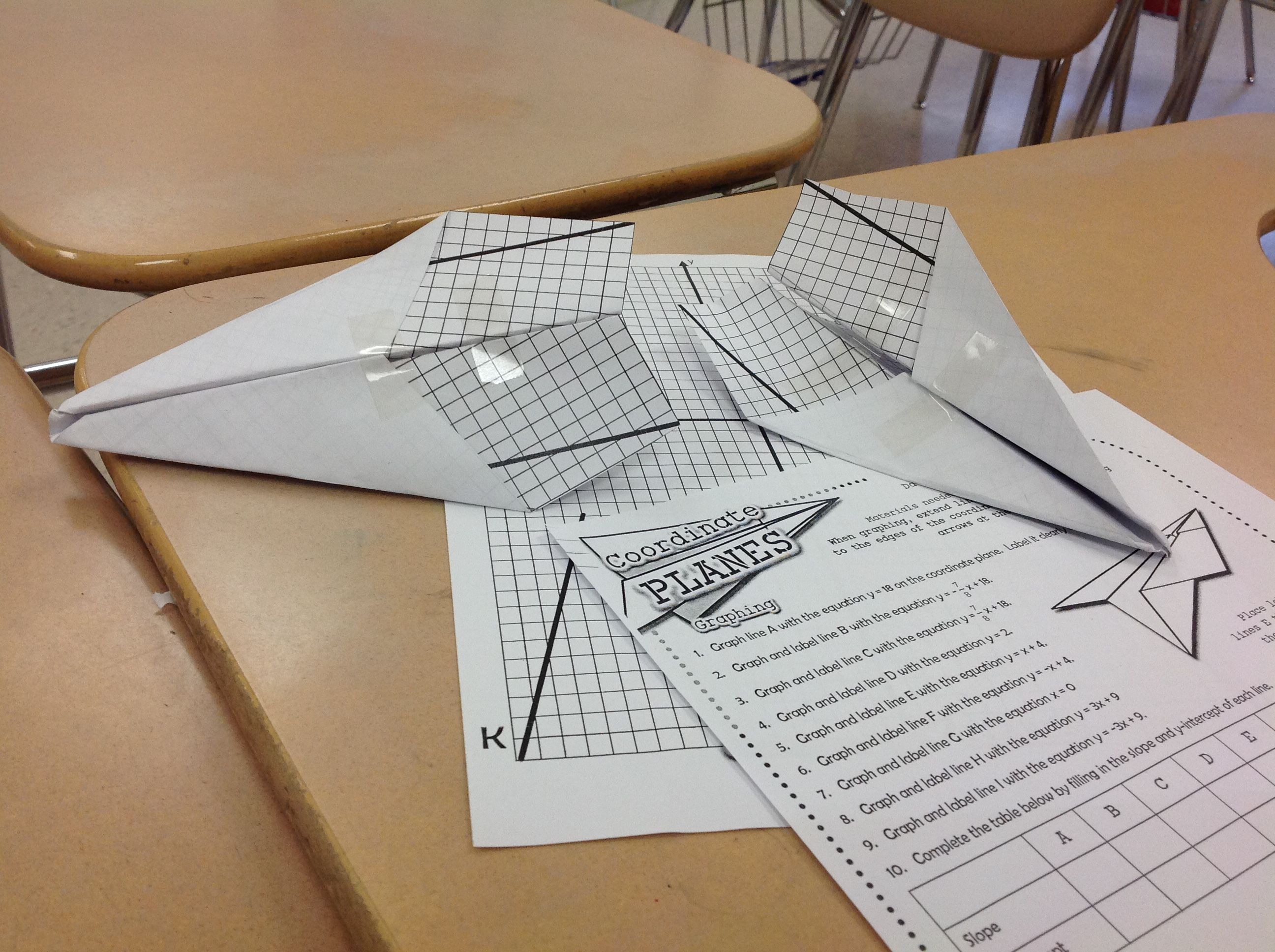coordinate planes paper airplanes from graphing linear equations
