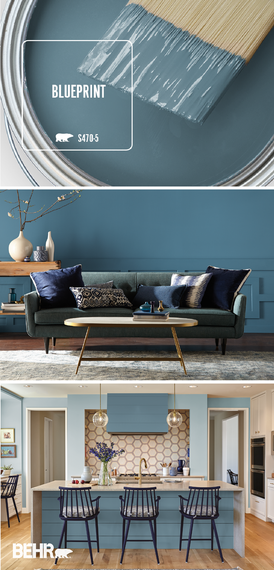 Add A Pop Of Mid Tone Blue Color To The Interior Design Of Your