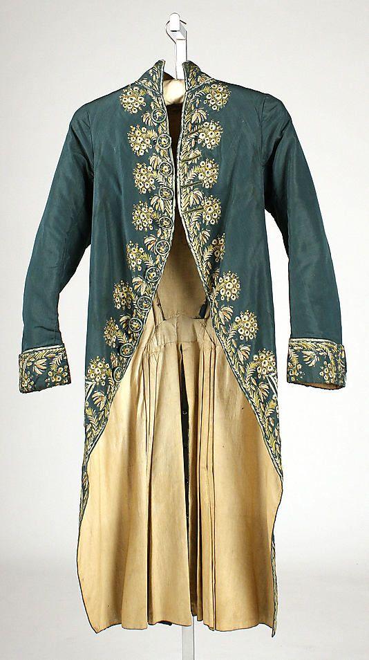 Coat 1775, British, Made of silk