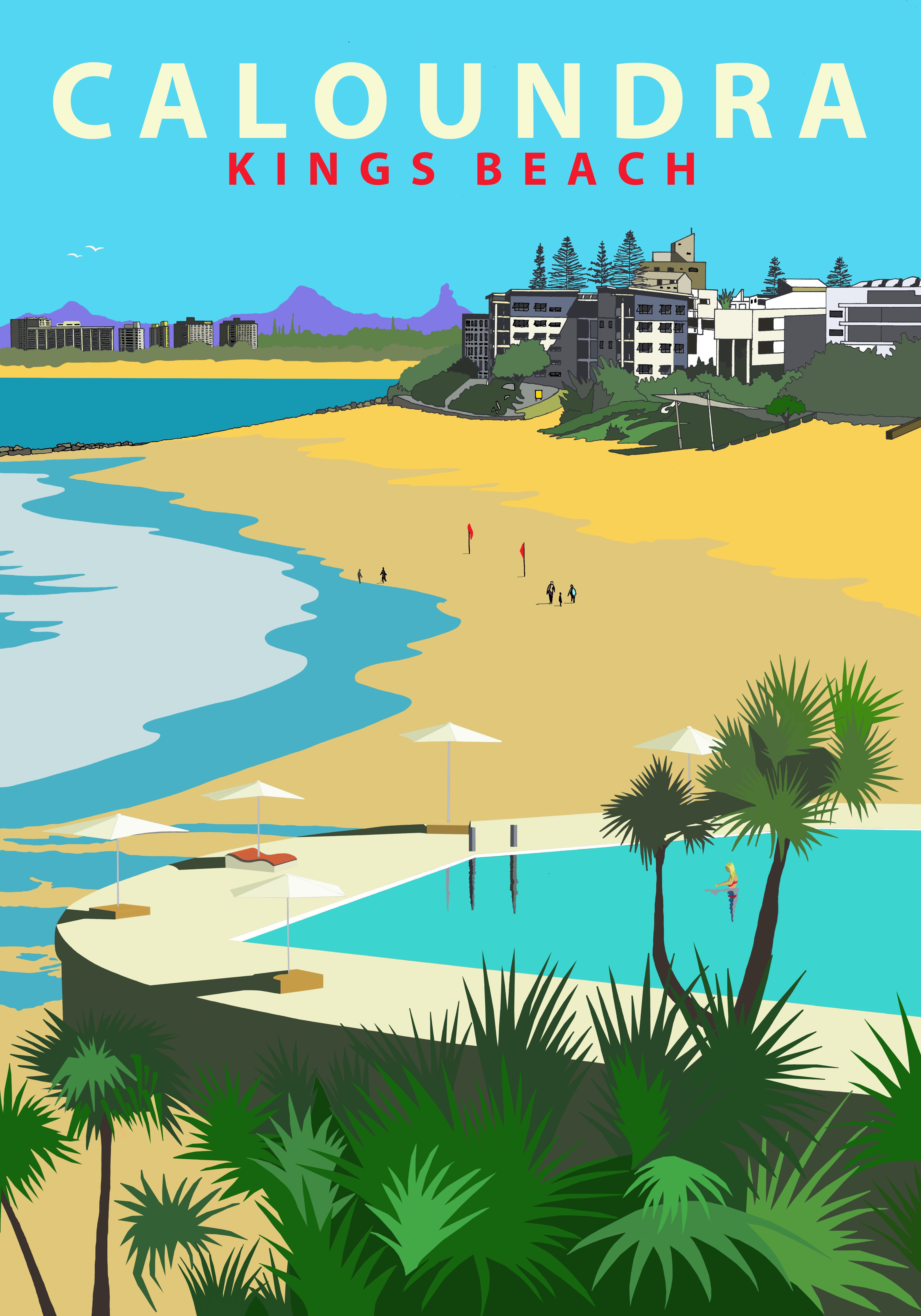 Australian retro travel poster kings beach caloundra