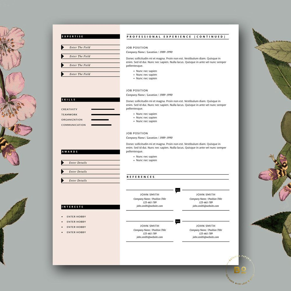 Feminine CV Template for Word , ad, pagessimply