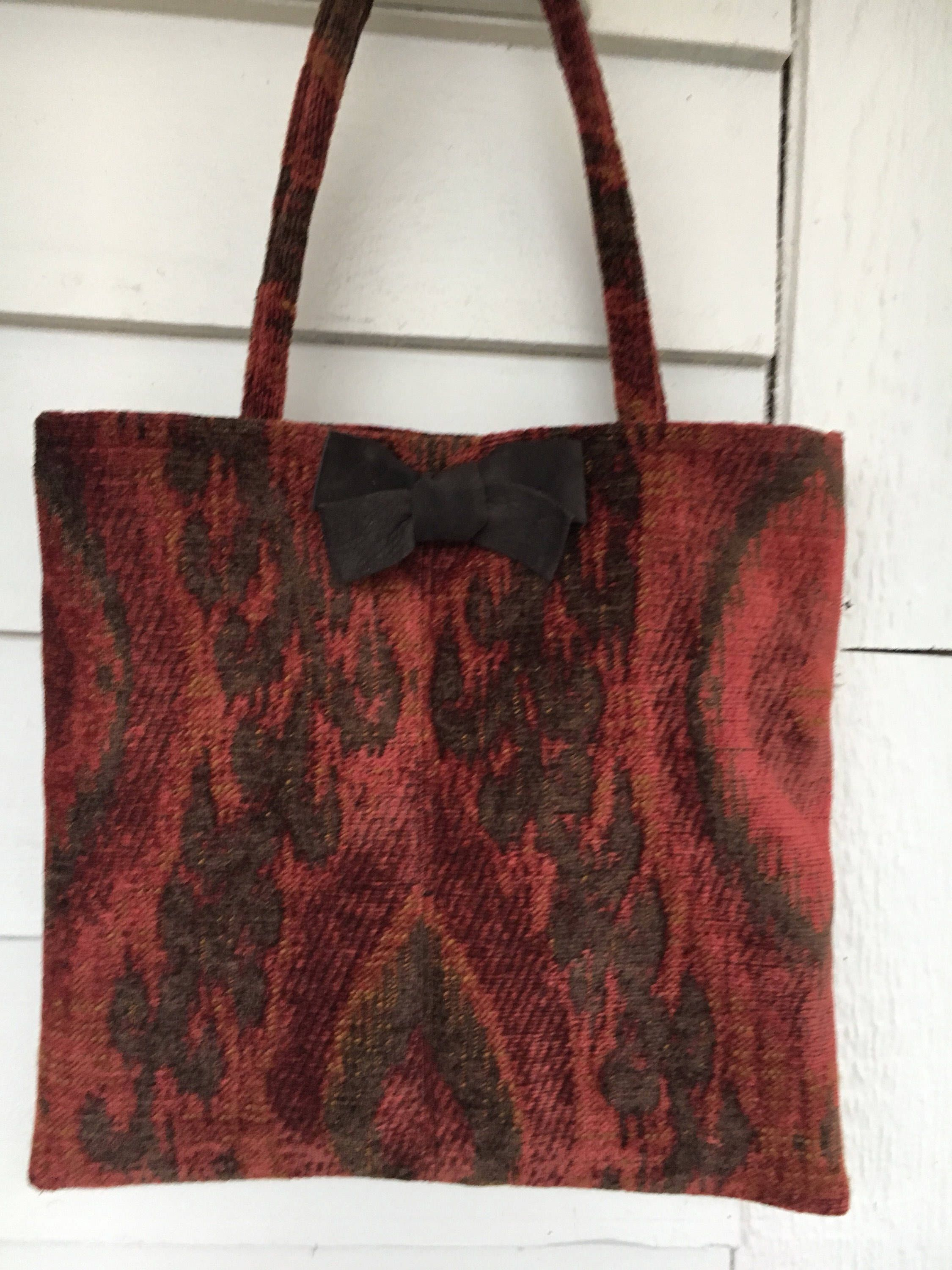 Excited To Share The Latest Addition My Etsy Handmade Tapestry Tote Bag With Leather Bow Batooli Bags