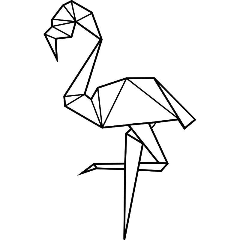 Sticker Flamant Rose En Origami Flamant Rose Dessin