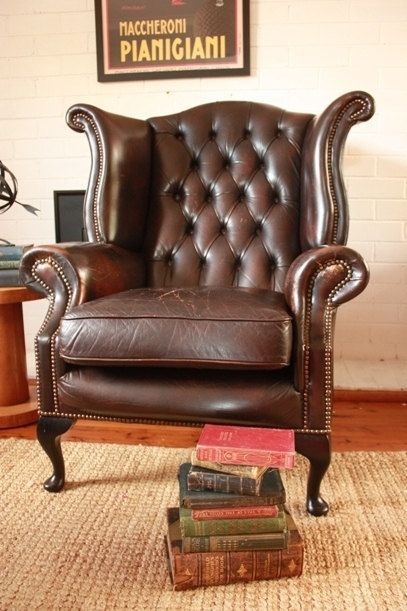 Merveilleux Vintage Leather Wingback Chair Gascoigne By TriBecasVintage, $695.00