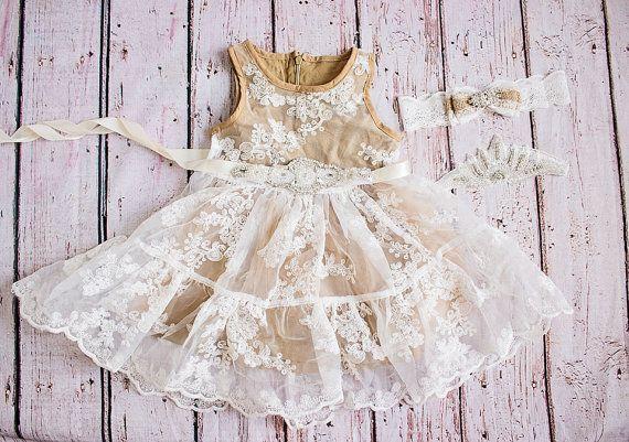 Rustico fiore ragazza vestito vestito ragazza di fiore di