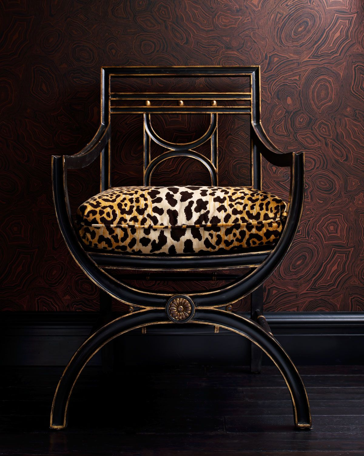 "John-Richard Collection ""Cheetah"" Roman Chair Ebony Chair"