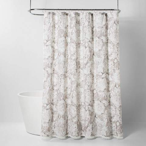Jacobian Floral Print With Lace Trim Shower Curtain Gray