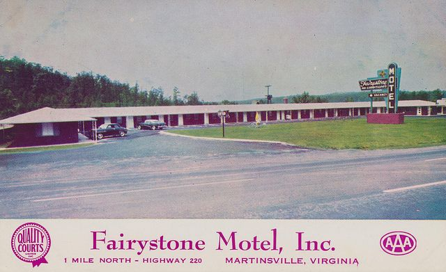 Fairystone Motel, Inc. - Martinsville, Virginia | Flickr - Photo Sharing!  21 Modern Units Wall to Wall Carpets - Free TV in each rooms. Telephone in each room. Tub and shower in every room. Each room separately controlled by thermostat. Centralized Air Conditioning. Fine Restaurants within 200 yards Phone 18-651. A Quality Courts Motel. AAA Approved.