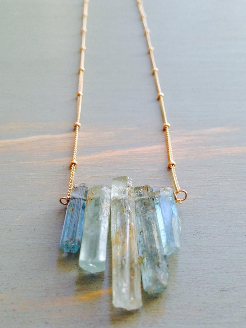 Photo of Collier aigue marine Aquamarine pendentif collier bijoux aigue marine collier de pierres précieuses