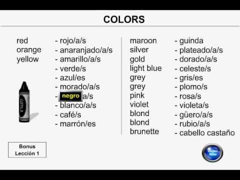 Learn Spanish - Lesson 7 - Colors - YouTube | Spanish