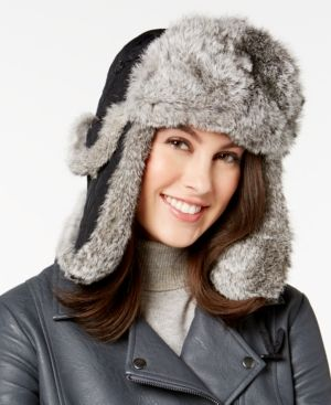8c8766149 SURELL RABBIT FUR TRIM VISOR QUILTED TROOPER HAT. #surell # | Surell ...