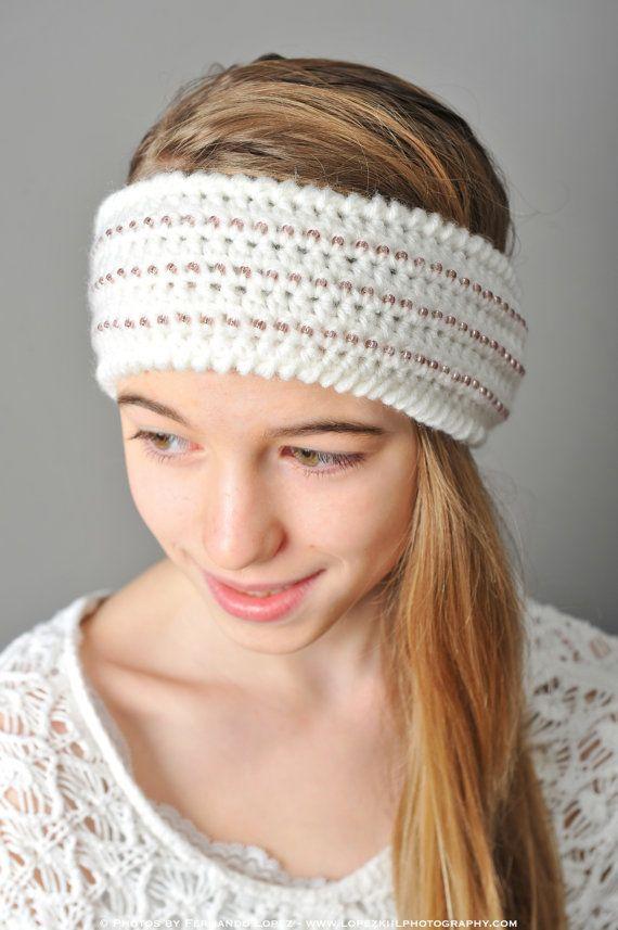 Immediate Download Beaded Headband Style Ear Warmer Crochet