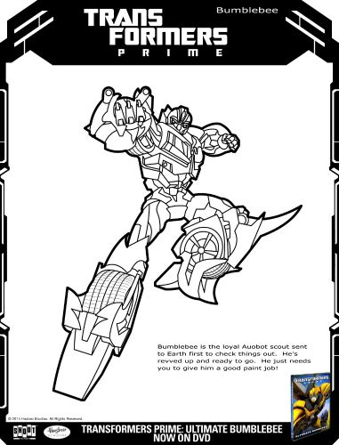 Transformers Prime Ultimate Bumblebee Printable Coloring Page