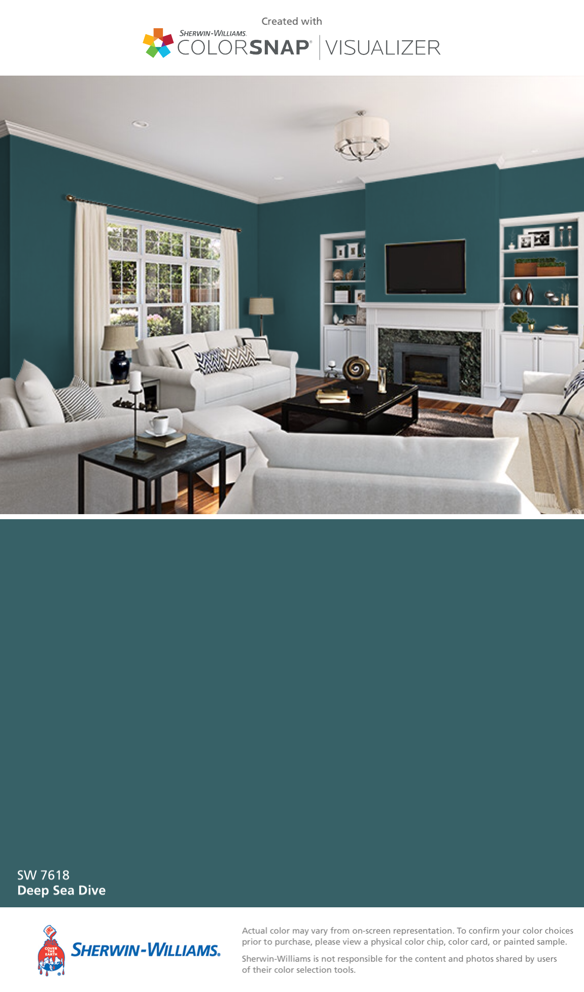 I Found This Color With Colorsnap Visualizer For Iphone By Sherwin Williams Deep Sea Dive Sw 7618