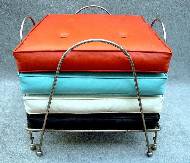 1950s Orange Turquoise Floor Cushions Floor Cushions