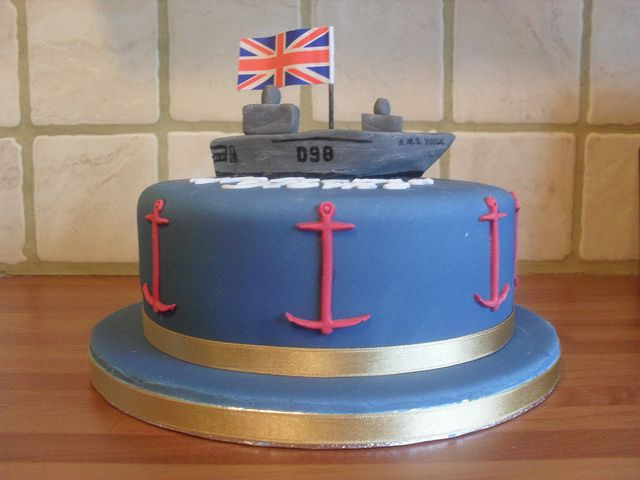 Navy Cake USA Themed W Replica Of Austins Ship Homecoming