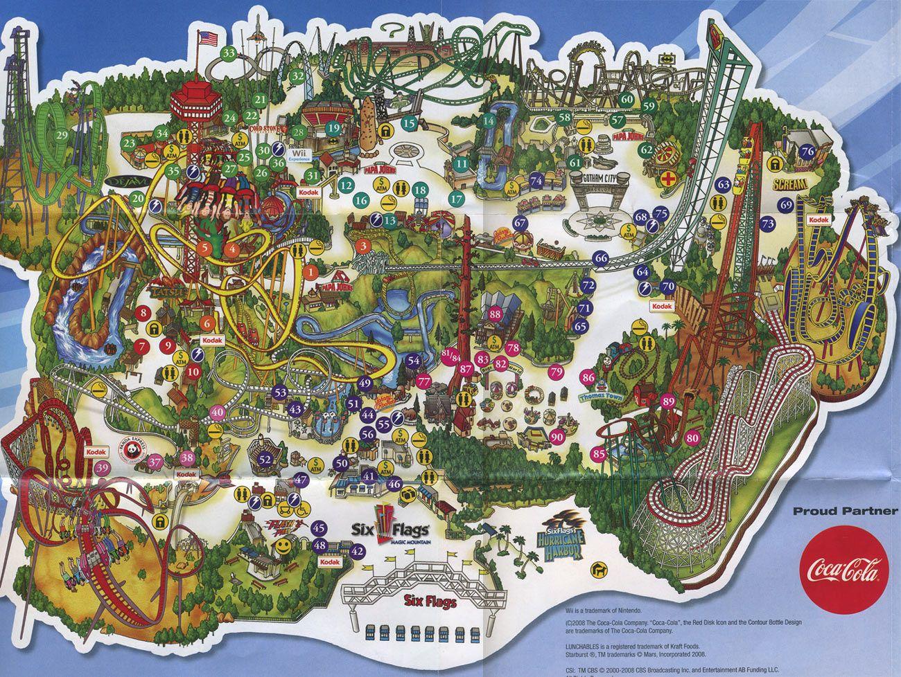 Six Flags Magic Mountain 2008 Map Six Flags Theme Park Map Magic Mountain California