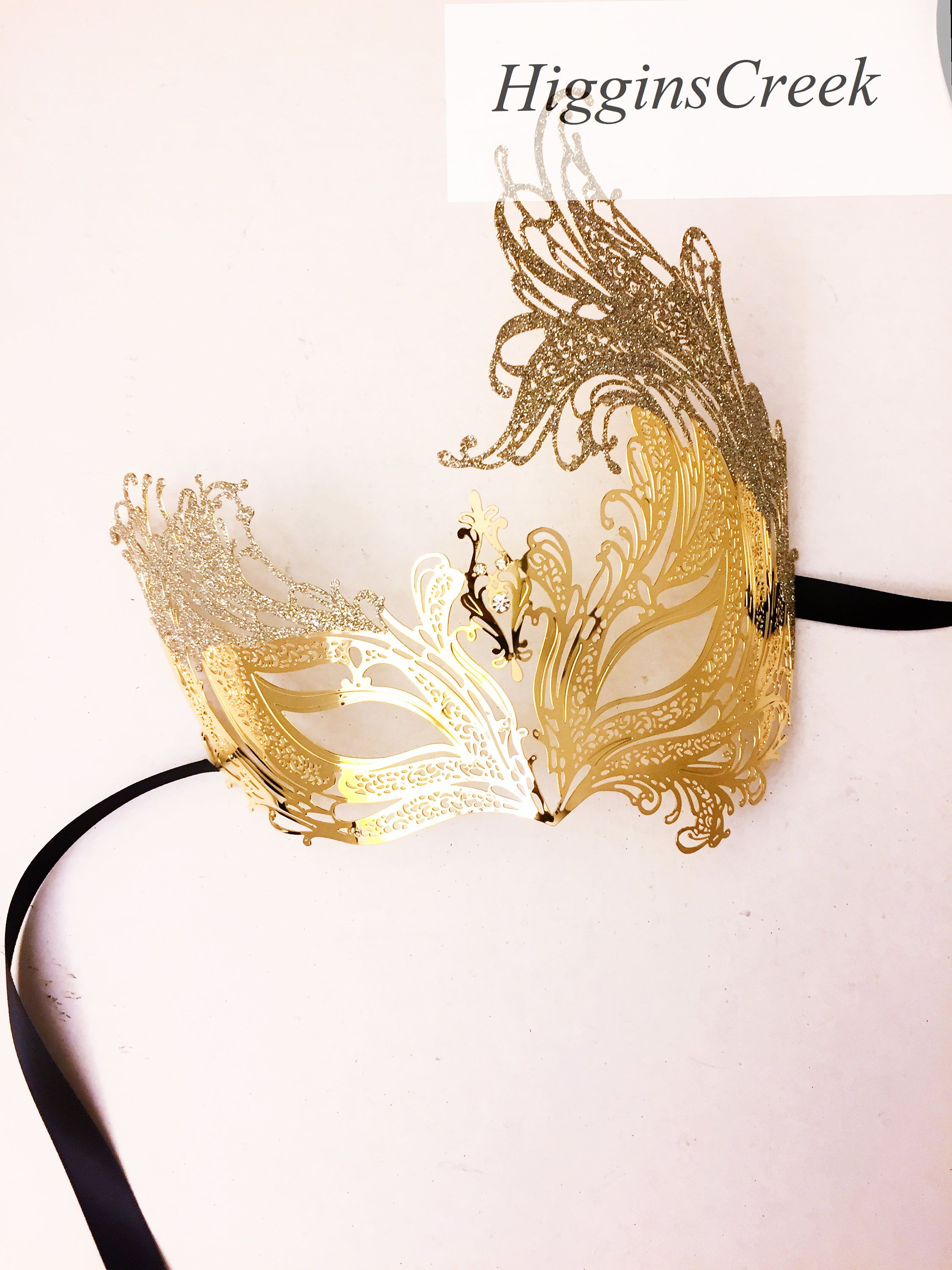 Gold Mask with Shimmer Masquerade mask for women, Gold venetian mask ...