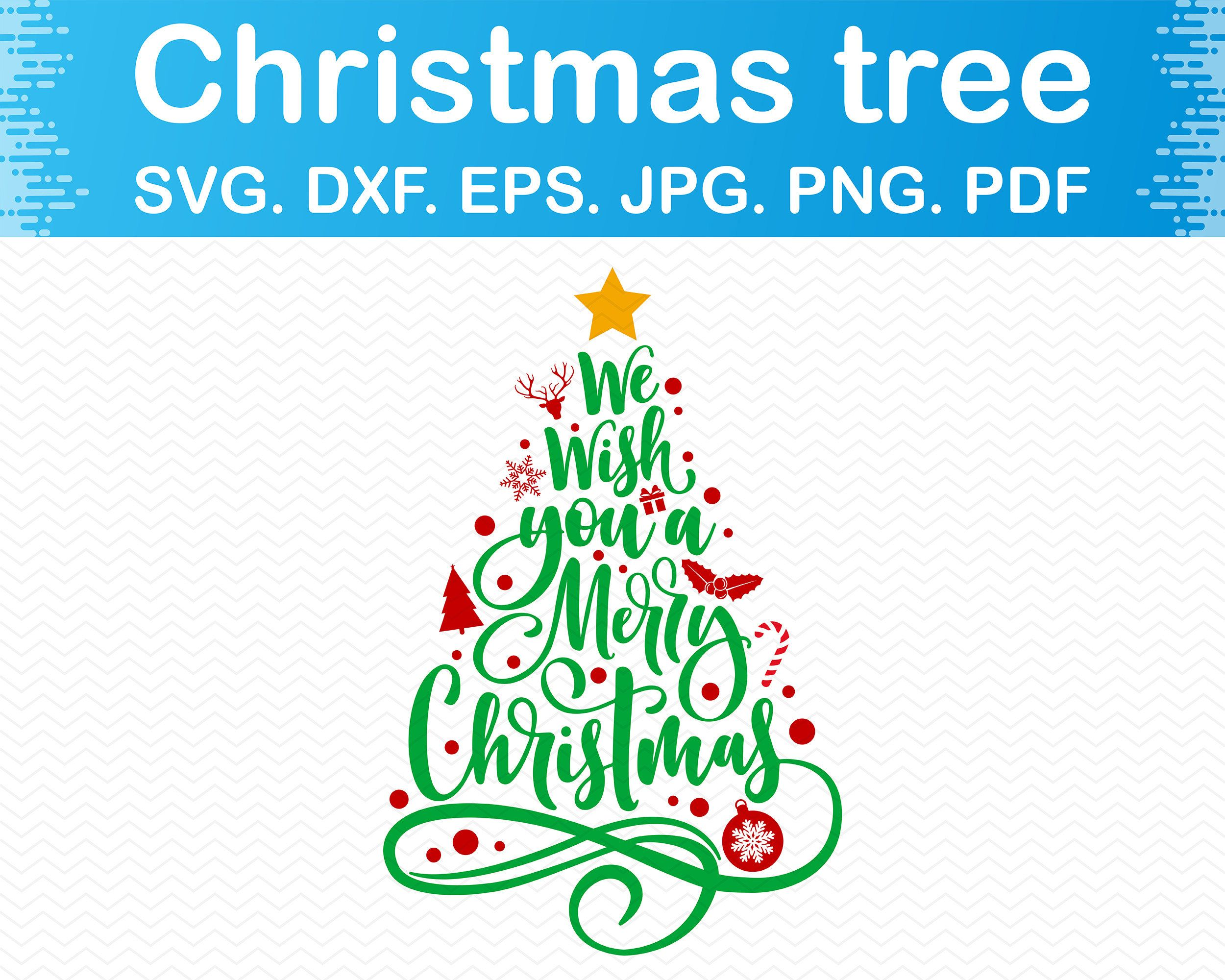 Merry Christmas Tree Svg Merry Christmas Trees Png Merry Christmas Svg Bundle Christmas Clipart Silhouette Cricut Dxf Files Vector In 2020 Tree Svg Christmas Clipart Svg