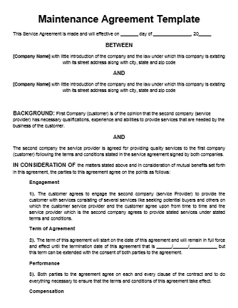 maintenance contract template - Maintenance Service Contract Sample