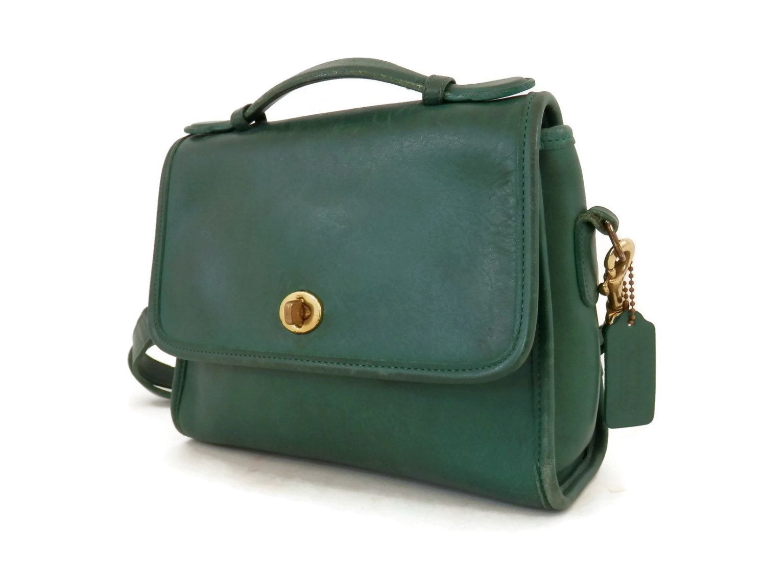92c3aa07 Vintage Coach Court Cross Cross Body Bag Forest Green | Vintage ...