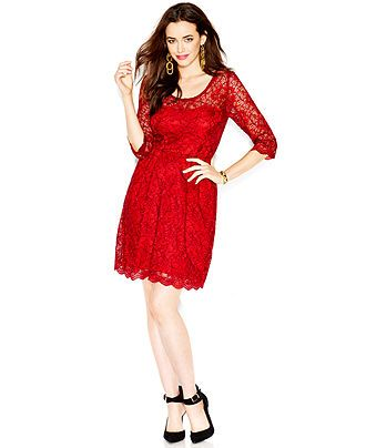 efc9e53a8571 Betsey Johnson Illusion Contrast Lace Dress - Dresses - Women - Macy's