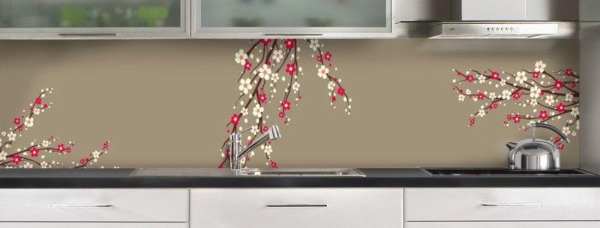 Crédence de cuisine Arbre fleuri recouvrement - c-macredence.com ...