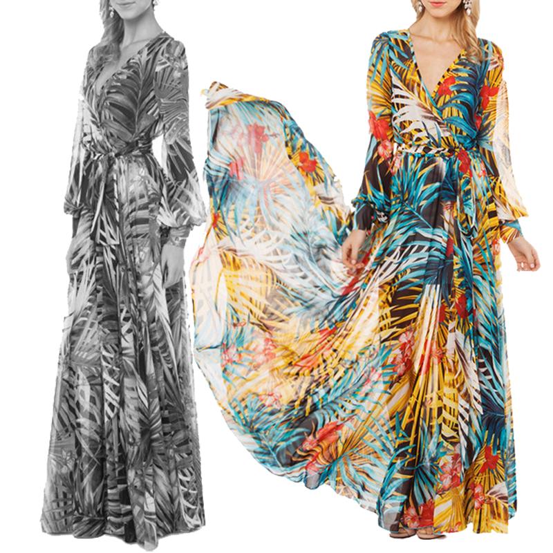 Tropical Print Maxi Chiffon Dress #zaful